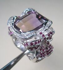 13.32 CTW AMETRINE, RUBY & WHITE SAPPHIRE RING #7.25 WHITE GOLD over 925 SILVER