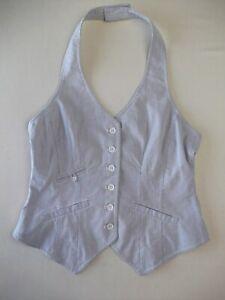 Ladies halterneck waistcoat Size 10 Blue fine stripe Part Two Brand Good con RU1
