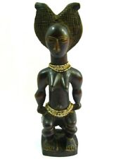 African Songye Seated Female Statue Fetish Fertility Ceremonial Tribal 16'' Inch