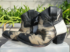 Golden Goose Deluxe Brand SYDNEY Leopard White/Mixed Distressed Leather Boots 36