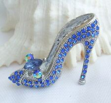 Blue Rhinestone Crystal High-heeled Shoes Brooch Pin Costume Jewelry EE05865C3