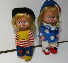 "2 Vintage 1970's Clown dolls so cute plastic girl and boy clean 8"" hobo"