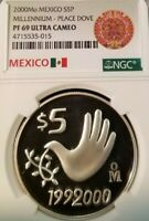2000 MEXICO S5P MILLENNIUM PEACE DOVE NGC PF 69 ULTRA CAMEO SCARCE TOP POP !!!!!