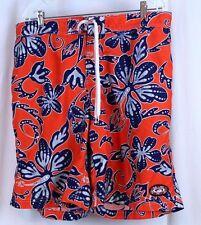 Good Vibes Size 38 Hawaiian Floral Print Orange Blue  Board Shorts Swim Trunks