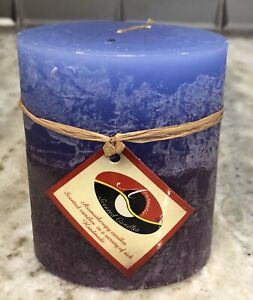 Handcrafted 3.25x4 CALMING LAVENDER RAIN Layered Oval Decorative Pillar Candle