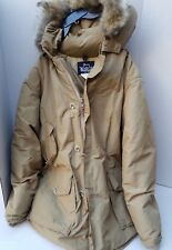 Woolrich Mens Parka Arctic Coat Zipper Button Hood Pockets Coyote Sheep USA XL