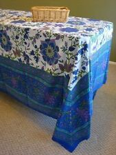 """Handmade Floral Print Cotton Tapestry Tablecloth Spread 87"""" x 90"""" Blue"""