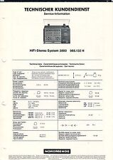 NORDMENDE HIFI-Stereo System 2800 985.132 H  Service Information  B1902