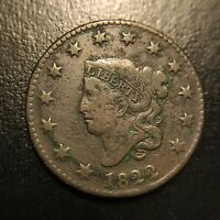 1822 Large Cent Very Fine VF 1c Copper Type