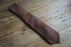 Isaia Napoli Mahogany Checked Woven Wool/Silk Tie Made In Italy