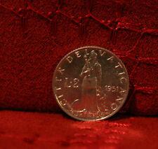 2 Lire 1951 Vatican Italy Unc World Coin KM50 Pope Pius Fortude w Lion Italian