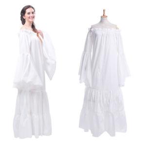 Women Renaissance Medieval Costume Pirate Peasant Chemise Off Shoulder Dress
