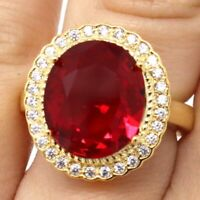 Vintage Oval Ruby Moissanite Halo Ring Women Anniversary Jewelry 14K Yellow Gold