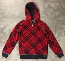 Nautica Plaid Fleece Full Zip Hooded Jacket Boy's Size Small (8)