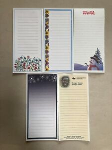 Lot Of 5 Note Pads  - 5 Pads Of Note Cards Stationery Scratch Writing Pad