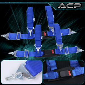 """2X 4 Point Blue Nylon Racing Harness Safety Seat Belt 2"""" Buckle Strap Universal"""