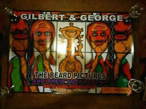 Gilbert and George Hand Signed Limited Edition Poster from White Cube Exhibition