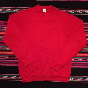 Vintage 80s Jerzees Raglan Sweatshirt Made in USA Medium Crewneck Red Blank