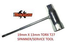 SERVICE TOOL FOR STIHL, HUSQVARNA T27 TORX 19mm / 13mm BOX.SPARKPLUG,BLADE BOLT