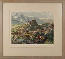 Austrian Etching Print Kasimir Luigi Style Pencil Signed