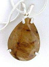 20x15 Pear Golden Rutilated Quartz Gemstone Sterling Pendant Necklace FREE Chain