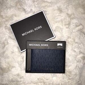 Michael Kors Slim Billfold MK Logo Baltic Blue Genuine Leather New!