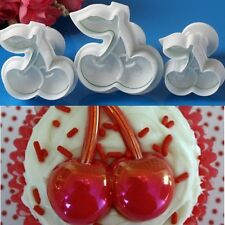 3pcs Cherry Fondant Plunger Cutters Cake Cookie Decorating Topper Mold Tool Set