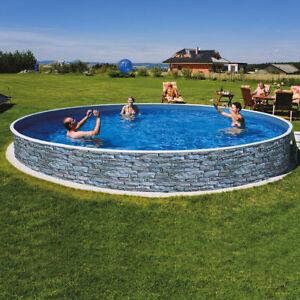 Azuro Deluxe Ø 360 x 90cm Steinoptik Stahlwandpool Schwimmbecken Pool