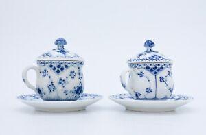 2 x 743 Creme cups - Blue Fluted Royal Copenhagen - Half Lace - 1st Quality
