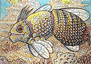 ACEO  Fantasy Original Bumblebee Fish