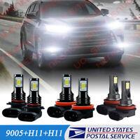 For Toyota Highlander 2014-2019 LED Headlight&Fog Light Bulbs Combo Kit 6000K