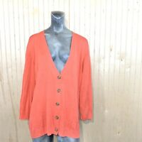 Vince Camuto Women 2X Cardigan Sweater Viscose Silk Blend Orange 3/4 Sleeve Knit