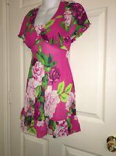 💐Betsey Johnson Intimates Medium Pink Floral Chemise Babydoll Nightgown Sheer