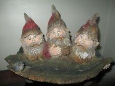 "Resin Gnomes Bird Feeder 3 Gnomes Holding Bird Feeder 9.5"" Tall 12"" Wide"