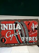1930'S ORIGINAL ANTIQUE PORCELAIN SIGN BOARD ENAMEL OF INDIA CYCLE TYRES RARE