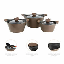 3pc Caia Non Stick Die Cast Cooking Pot Casserole Dish Pan Stockpot Coffee Brown