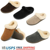 Women's Suede Sheepskin Fur Comfort Faux Fur Slip On House Slippers Shoes