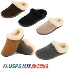Women's Suede Sheepskin Fur Comfort Faux Fur Slip On House Slippers Shoes