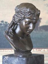 Portrait Bust Female Braids Lady Woman  Classic Bronze Marble Statue Sculpture