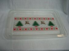 Large Acrylic Christmas Serving Tray Reindeer Christmas Trees Hearts