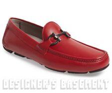 SALVATORE FERRAGAMO red 10.5E BARLETT Gancini driving Moccasin shoes NIB Authent