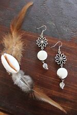 Lovely Handmade White Turquoise Bead&Silver Flower Leaf Hanging Pendant Earrings