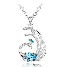 Pendant Necklace Chain Box F15 Swarovski Elements Crystal Silver Peacock Dance