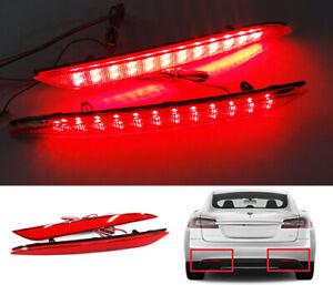 2x Red Lens 24 SMD LED For 2012+ Tesla Model S Bumper Reflector Tail Brake Light