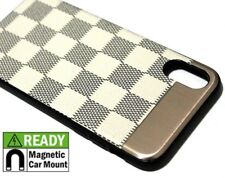 For iPhone X Hard Hybrid Magnetic Back Plate Skin Case Cover White Black Checker