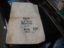 """Vintage U.S. Mint Philadelphia PA 1959 Cent $50 Canvas Money Bag 10-1/2"""" X 17"""""""