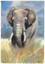 original drawing A4 474LM art by samovar watercolor elephant Signed 2020