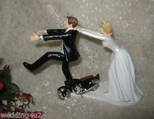 Wedding Party Reception ~Motorcycle Biker Hog~ Cake Topper Running Groom