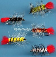 Woolly Worm - Twelve Fly Fishing Flies - Choose Quantity, Hook Size & Fly Color