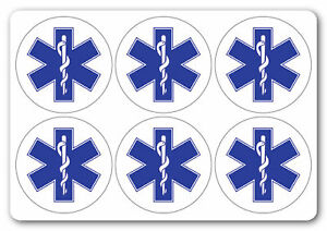 STAR OF LIFE SYMBOL | health and safety signs | Stickers [ 6No | 50x50mm ]